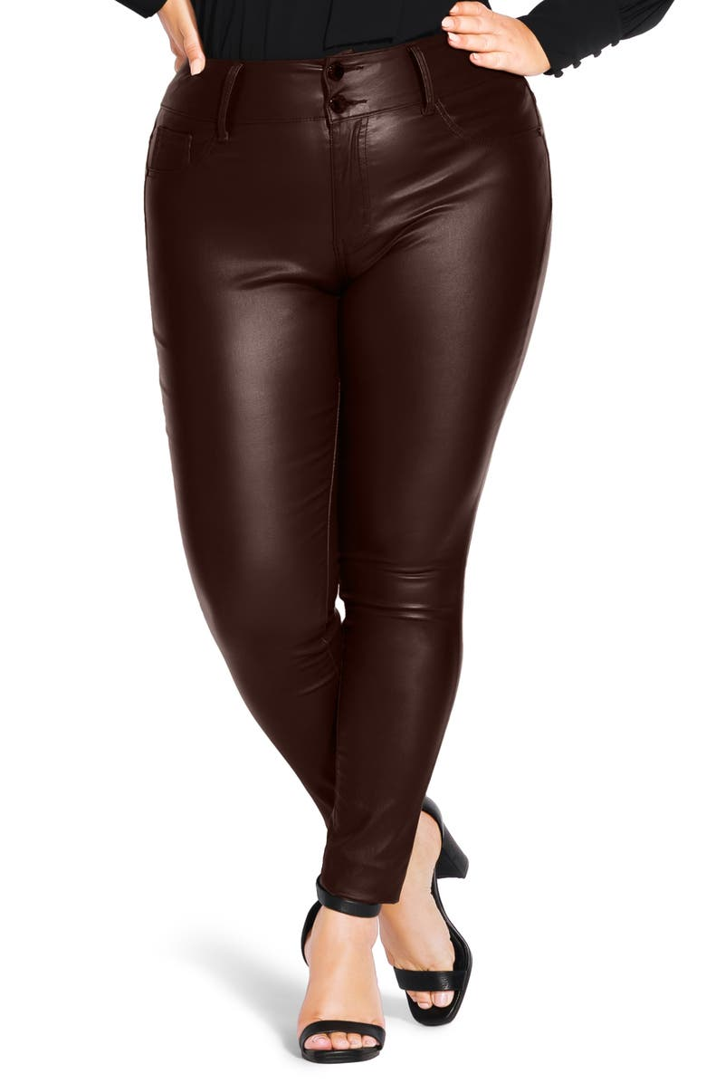 CITY CHIC Wetlook High Waist Skinny Jeans, Main, color, CHOCOLATE