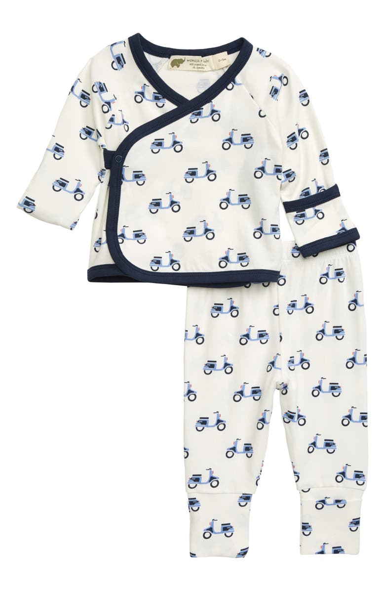MONICA + ANDY Hello Baby Wrap Top & Leggings Set, Main, color, SCOOT AROUND