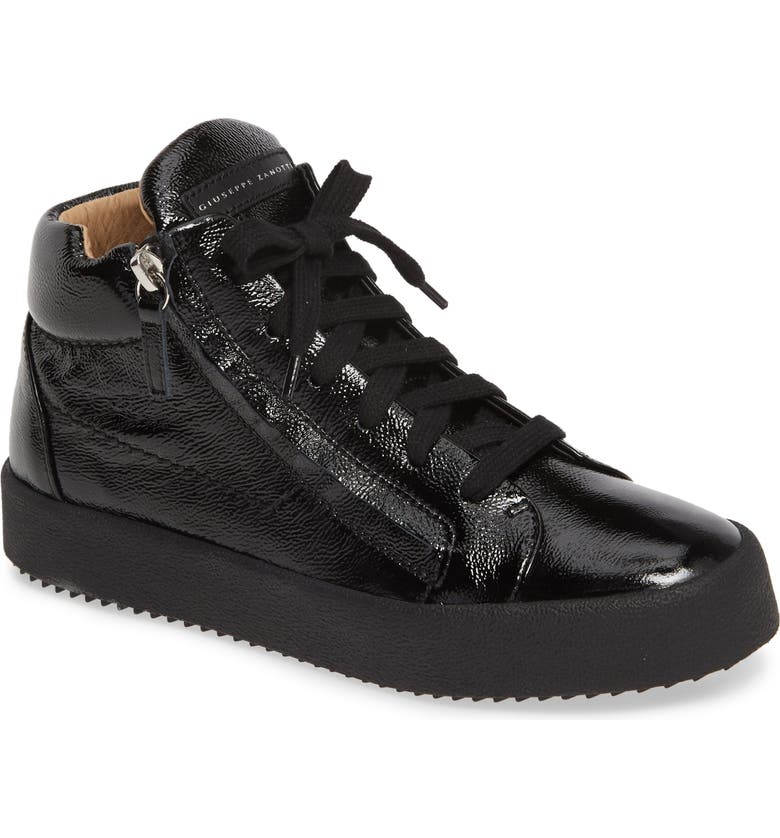 GIUSEPPE ZANOTTI May London Mid Top Sneaker, Main, color, BLACK