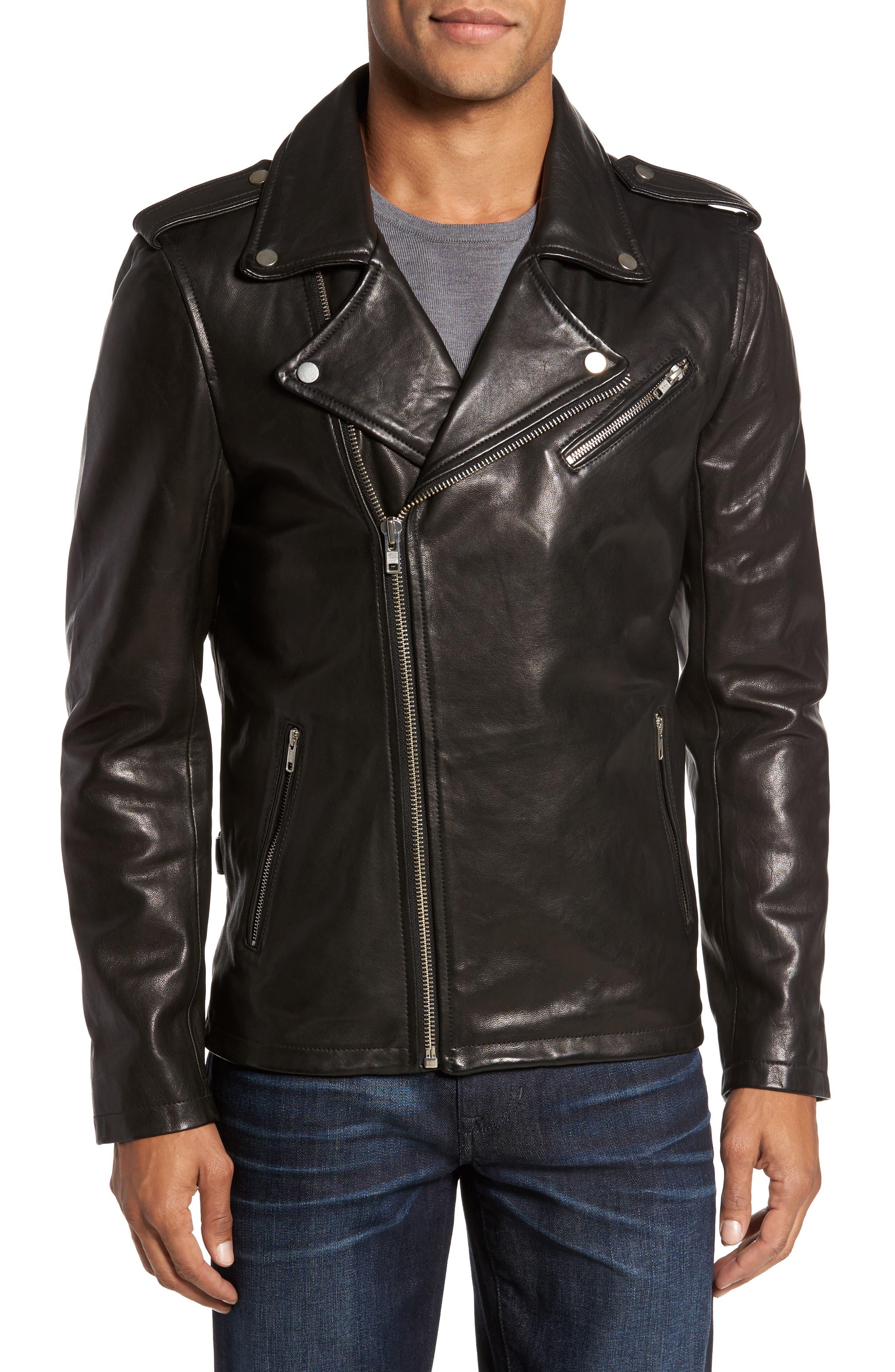 ,                             Leather Biker Jacket,                             Main thumbnail 1, color,                             BLACK