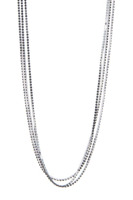 Image of CRISTABELLE Jet Rhinestone 3-Strand Long Necklace