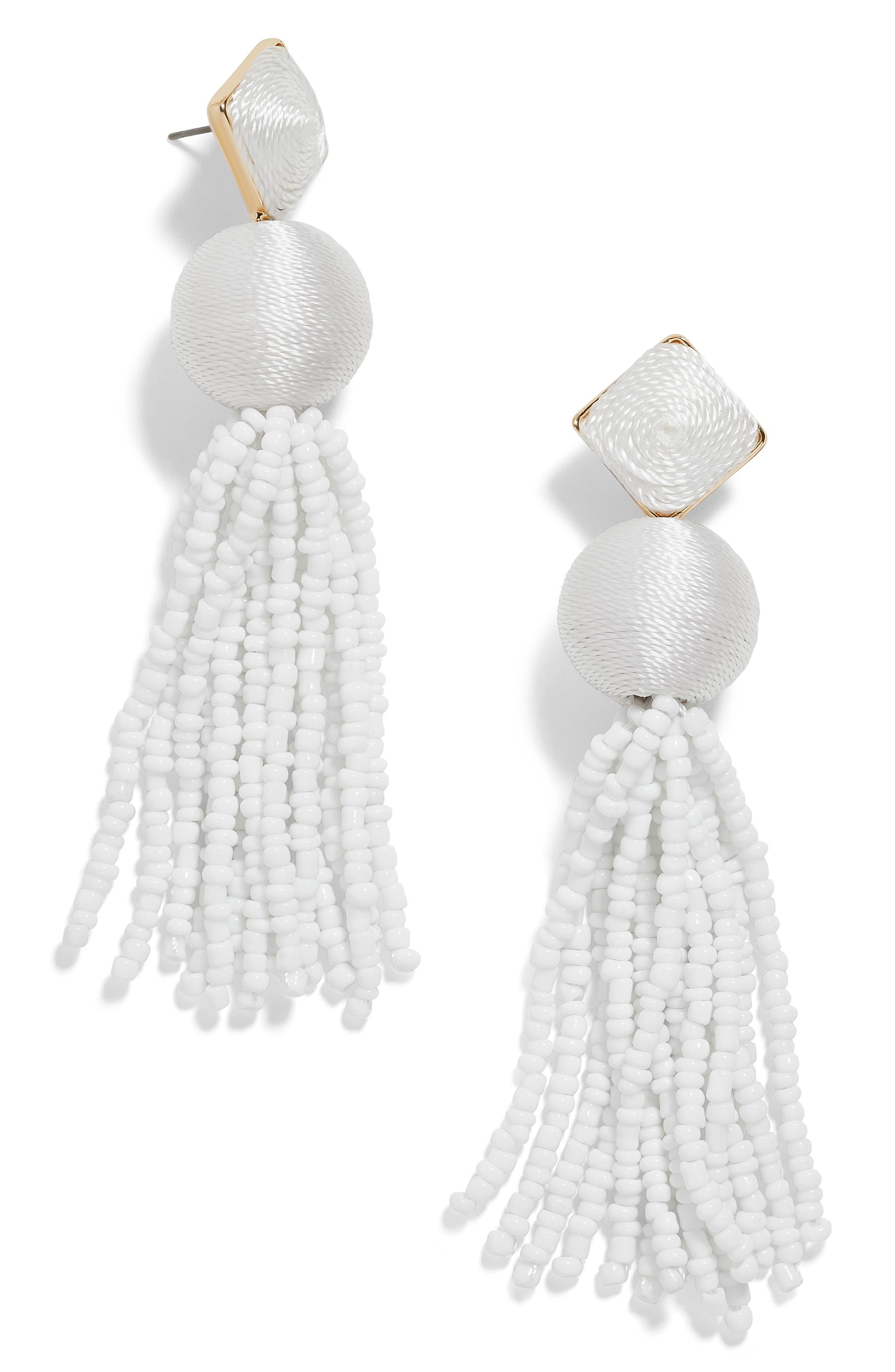 Azura Beaded Tassel Earrings, Main, color, WHITE