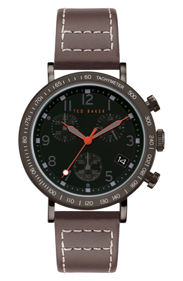 TED BAKER LONDON Marteni Chronograph Leather Strap Watch, 42mm, Main, color, GREY/ BLACK