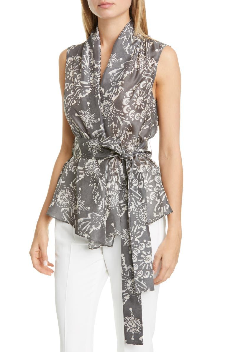 BRUNELLO CUCINELLI Floral Print Silk Wrap Blouse, Main, color, GRAY