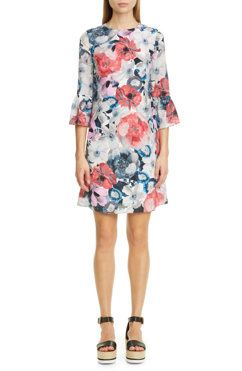 ERDEM Floral Silk Shift Dress, Main, color, 650