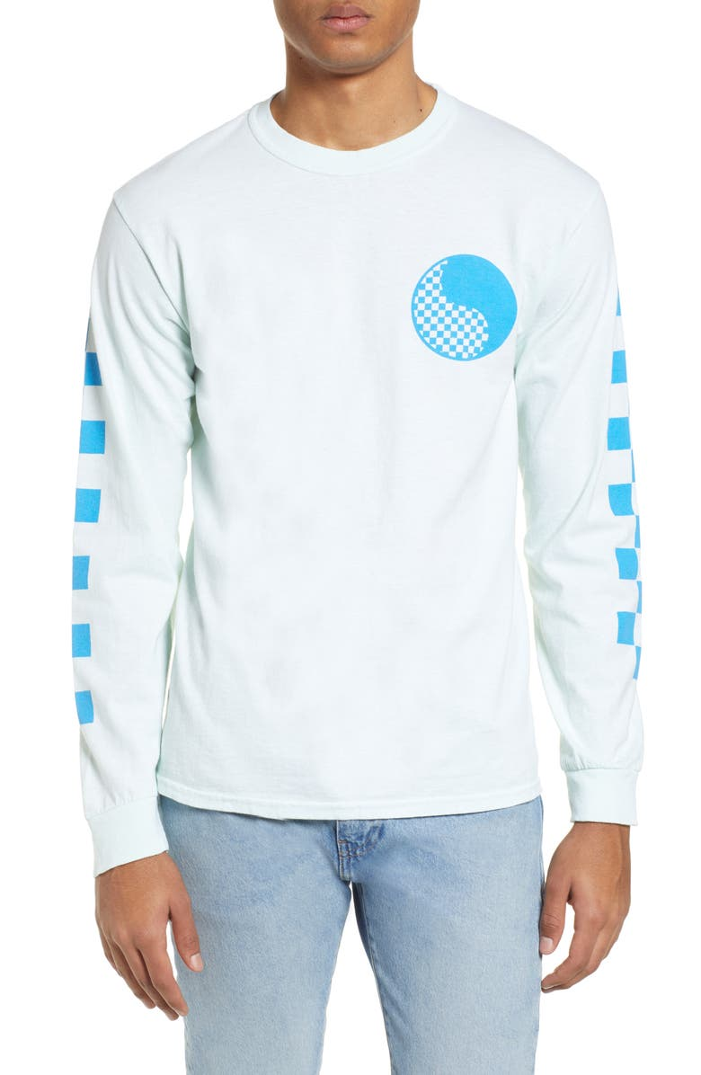 FREE & EASY Checkered Yin Yang Long Sleeve T-Shirt, Main, color, LIGHT BLUE