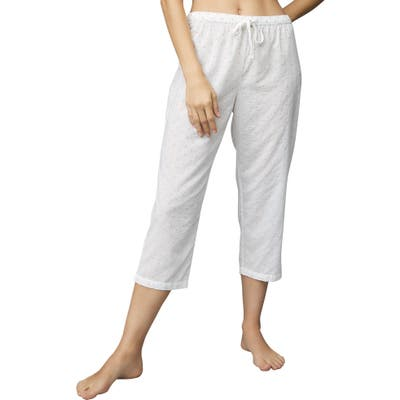The White Company Embroidered Cotton Crop Pajama Pants, White
