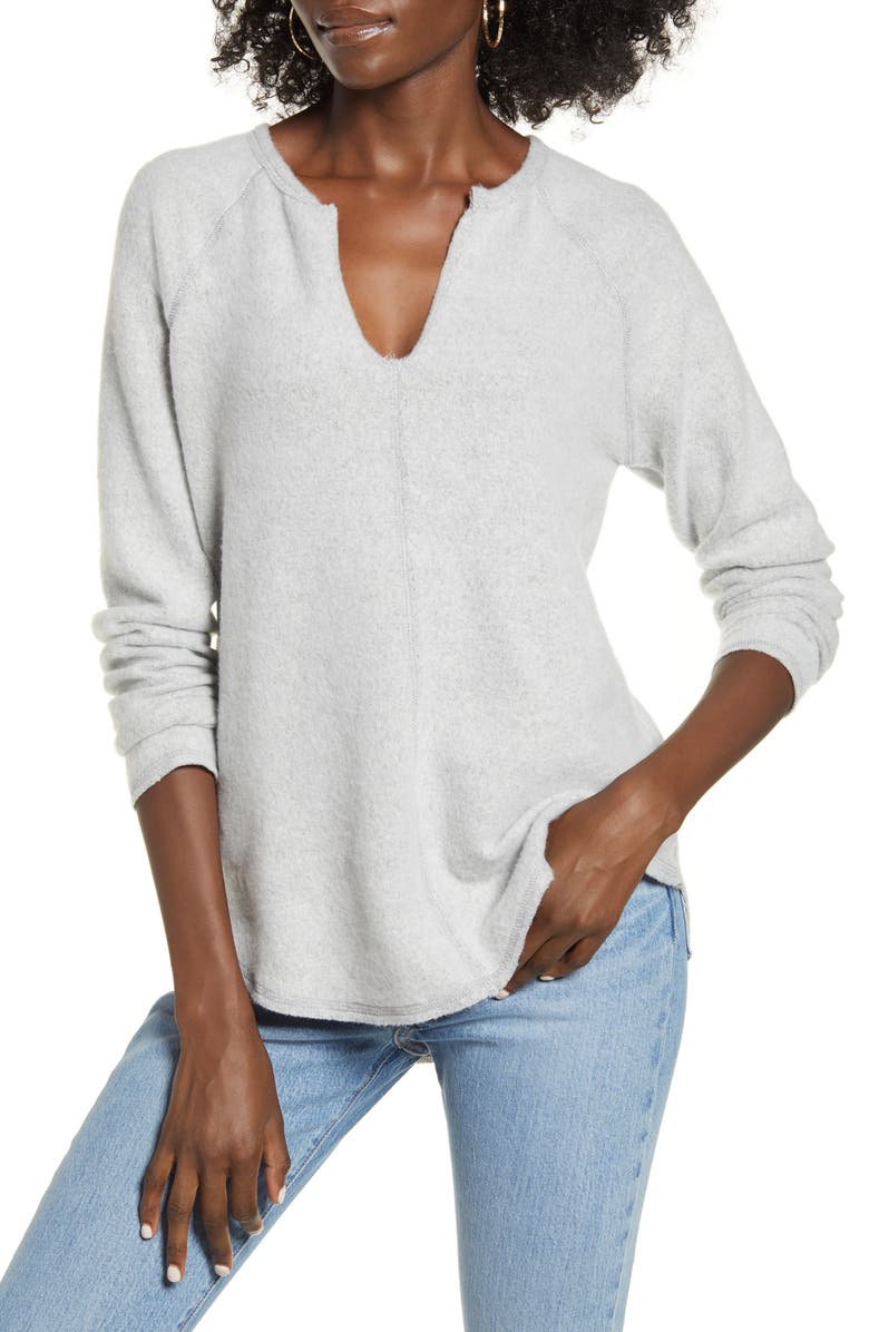 SOCIALITE Split Neck Raglan Top, Main, color, HEATHER GREY