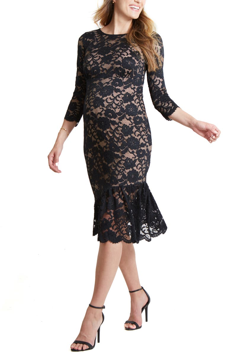 INGRID & ISABEL<SUP>®</SUP> Flounce Hem Lace Maternity Dress, Main, color, BLACK/ NUDE