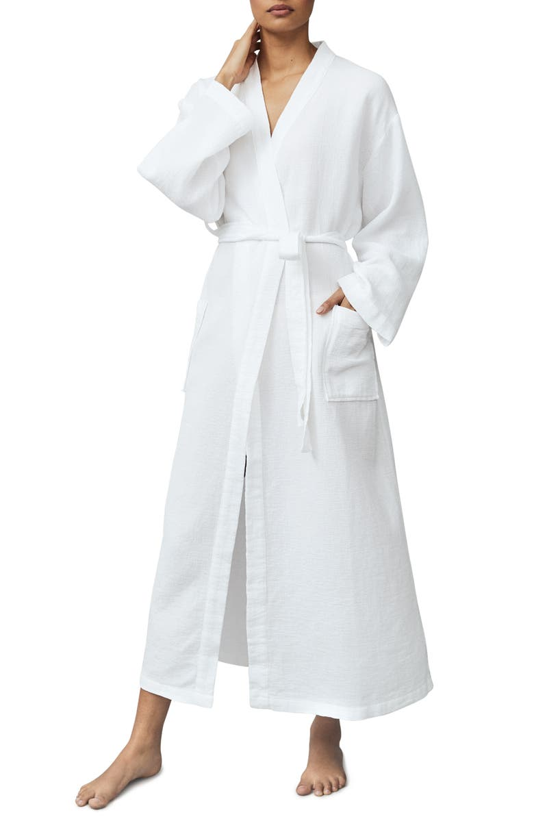 THE WHITE COMPANY Long Lightweight Waffle Robe, Main, color, WHITE