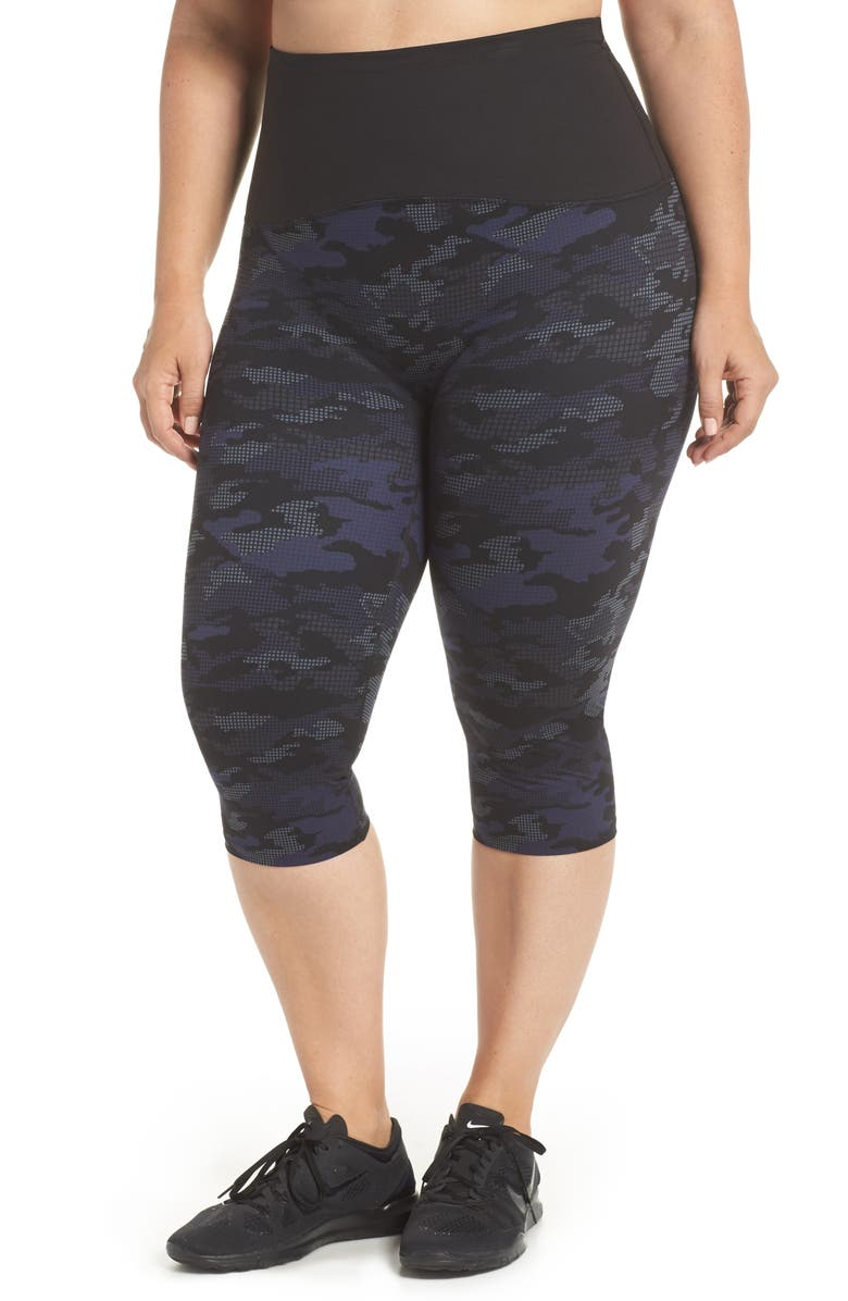 SPANX<SUP>®</SUP> Print Active Crop Leggings, Main, color, 420