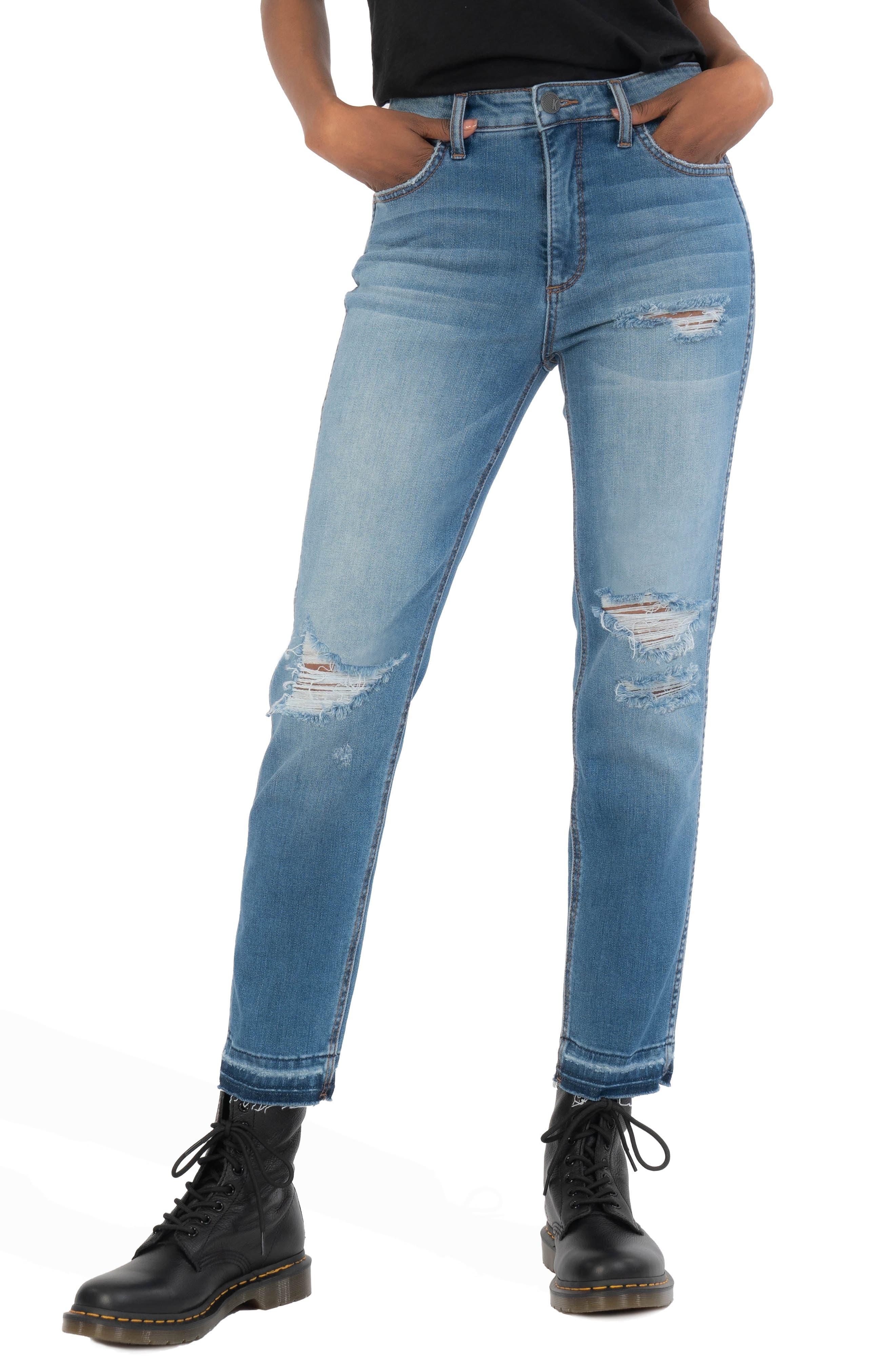 Naomi Fab Ab Ripped High Waist Crop Slim Straight Leg Jeans