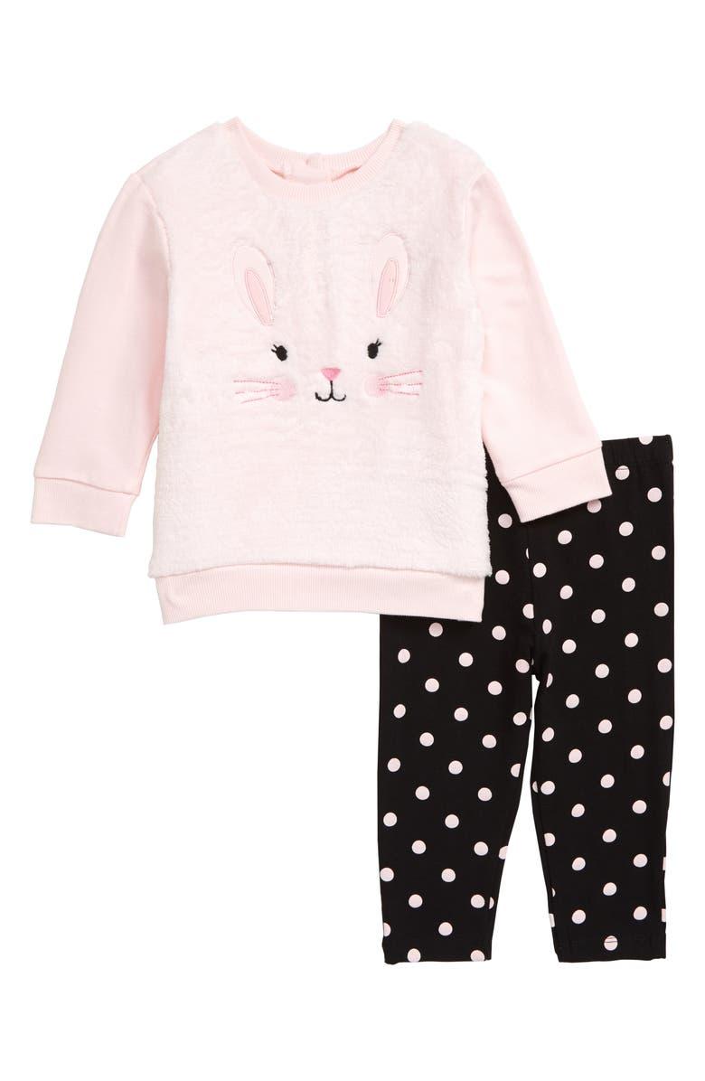 LITTLE ME Rabbit Embroidered Sweatshirt & Leggings Set, Main, color, PINK
