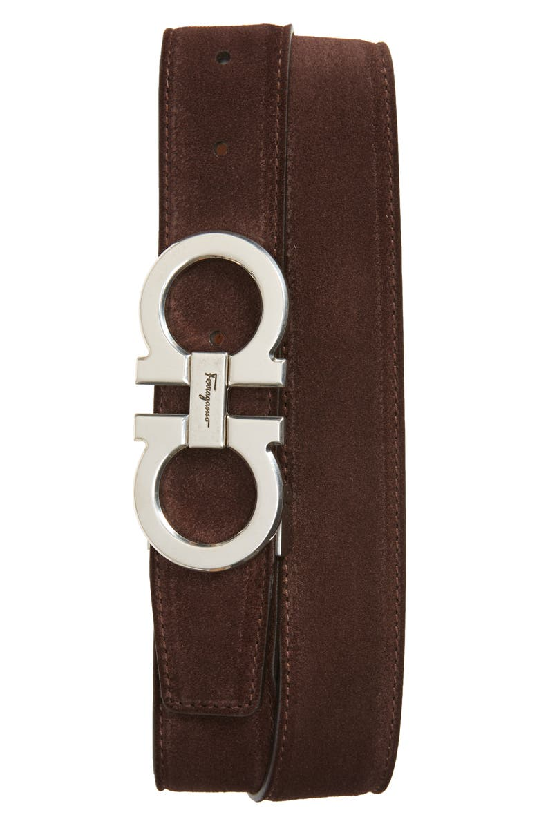SALVATORE FERRAGAMO Double Gancio Buckle Suede Belt, Main, color, BROWN/ BLACK