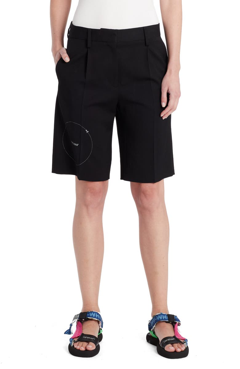 OFF-WHITE Gabardine Formal Shorts, Main, color, BLACK