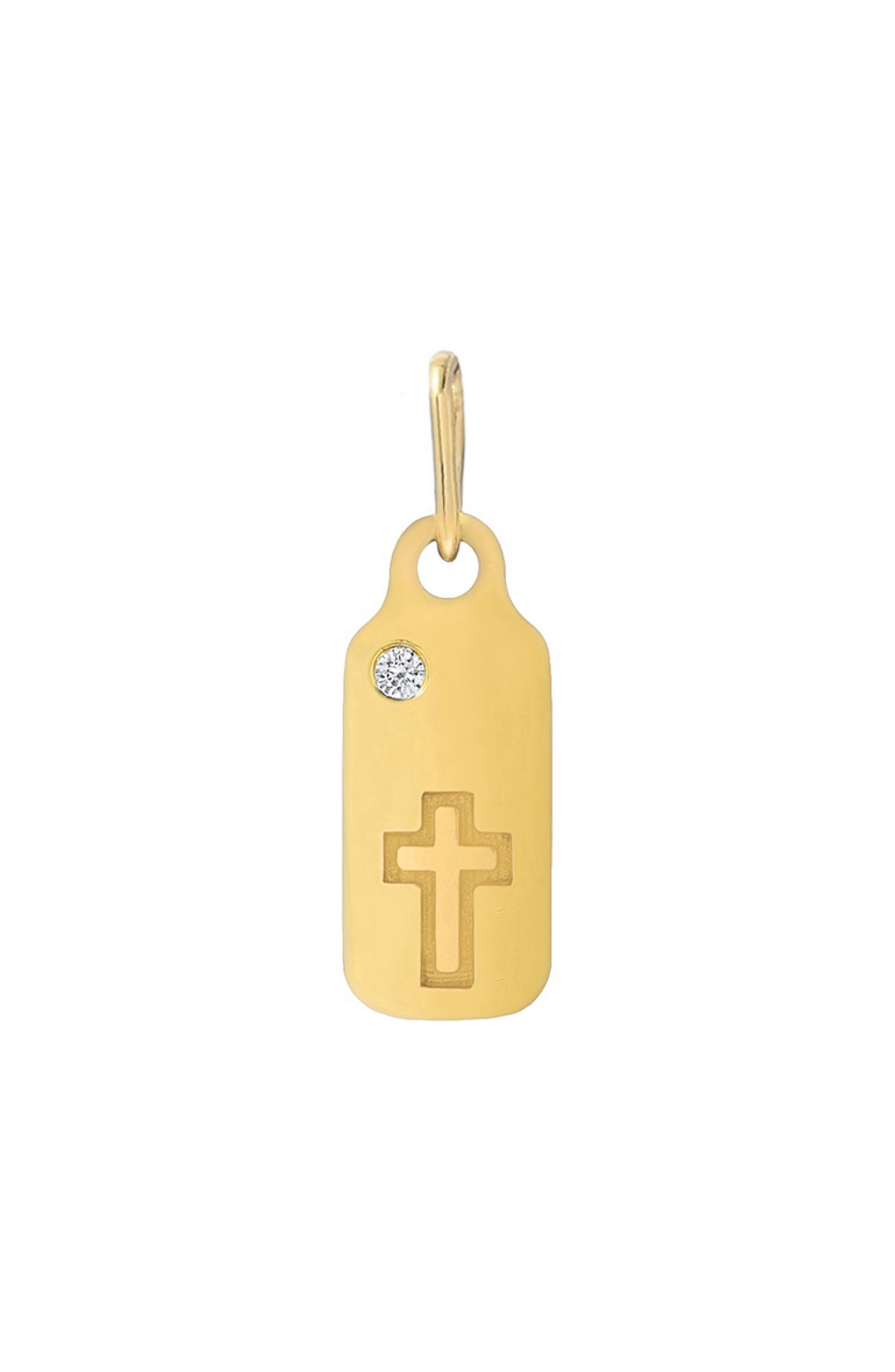 This trendworthy dog tag handcrafted in California from 14-karat gold is illuminated with a cross and a bezel-set diamond. Style Name: Mini Mini Jewels Icons - Cross Diamond Dog Tag. Style Number: 5750645. Available in stores.