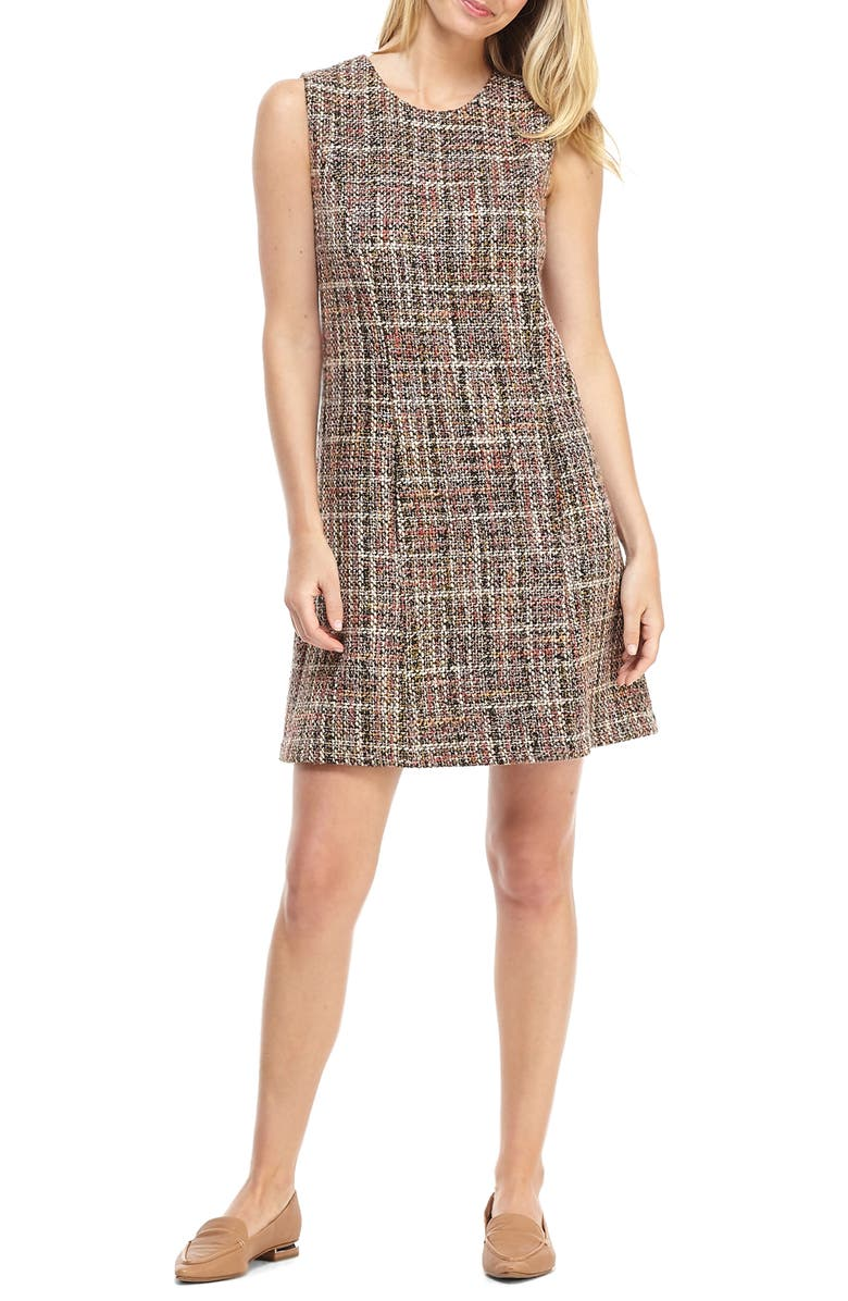 GAL MEETS GLAM COLLECTION Ramona Sleeveless Tweed Shift Dress, Main, color, BROWN