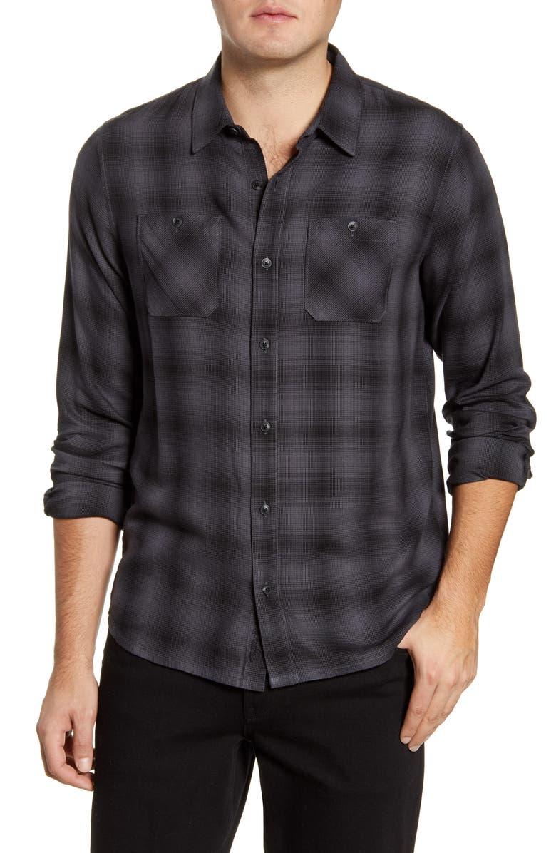 TRAVISMATHEW Brocation Regular Fit Plaid Button-Up Shirt, Main, color, BLACK