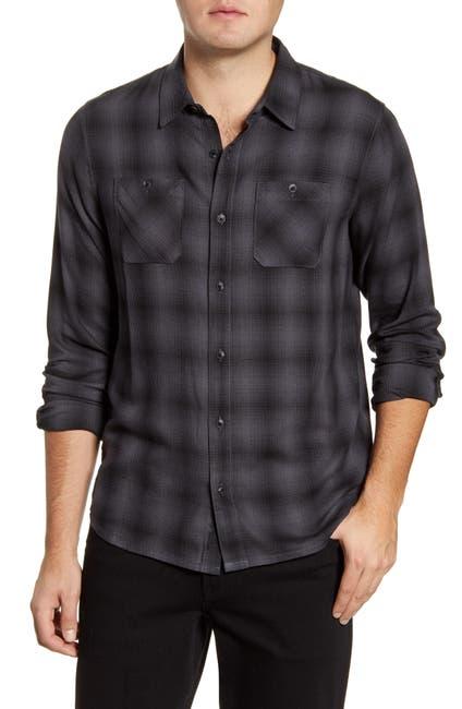 Image of TRAVIS MATHEW TravisMathew Brocation Regular Fit Ombré Plaid Button-Up Shirt