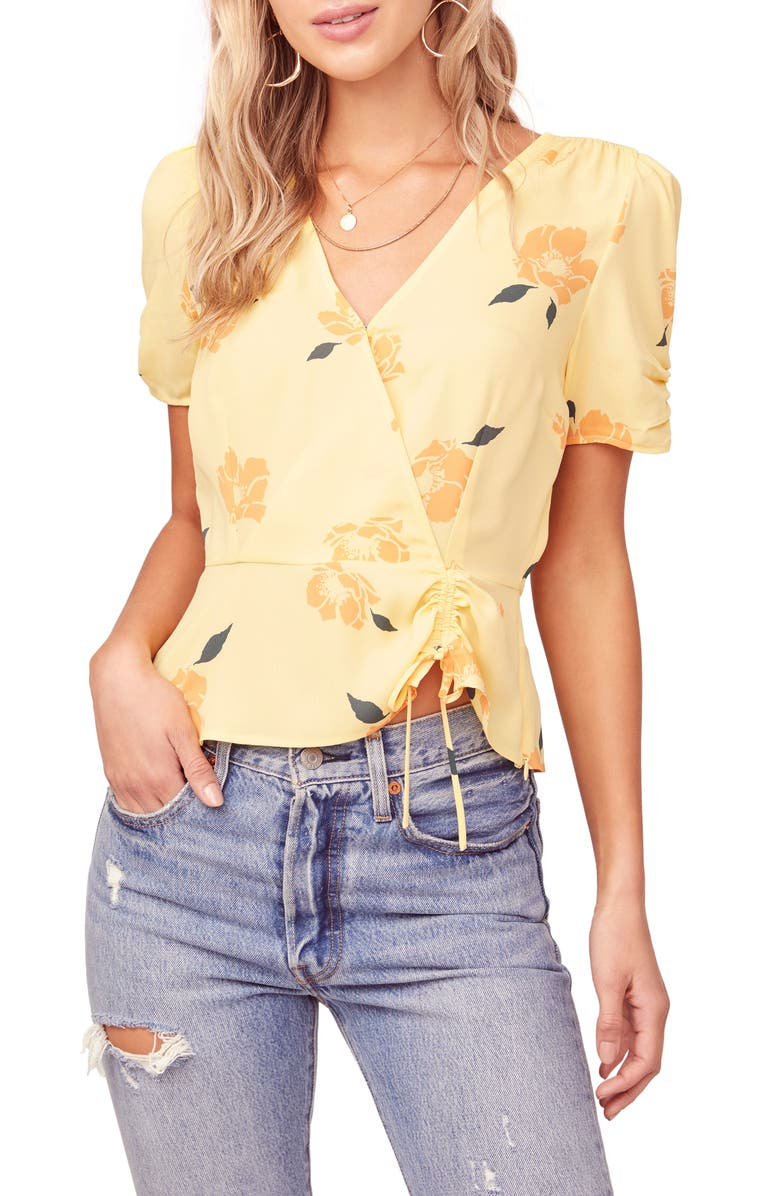 ASTR THE LABEL Floral Print Faux Wrap Top, Main, color, YELLOW FLORAL