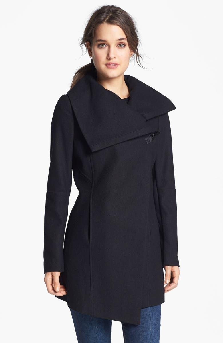 SAM EDELMAN 'Kit' Asymmetrical Wool Blend Coat, Main, color, 001