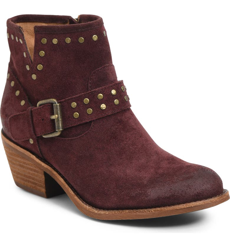SÖFFT Allene Studded Bootie, Main, color, MOSTO RED SUEDE