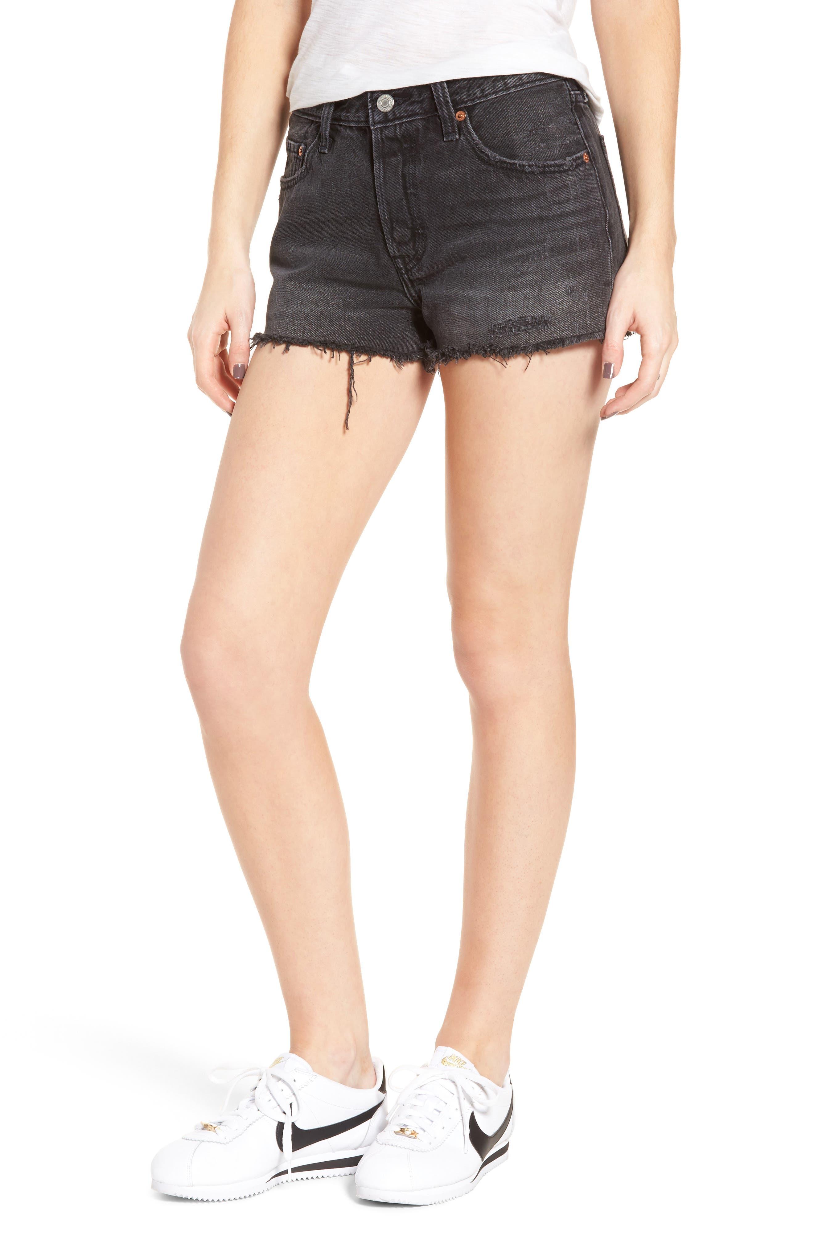 501<sup>®</sup> Cutoff Denim Shorts, Main, color, TRASHED BLACK