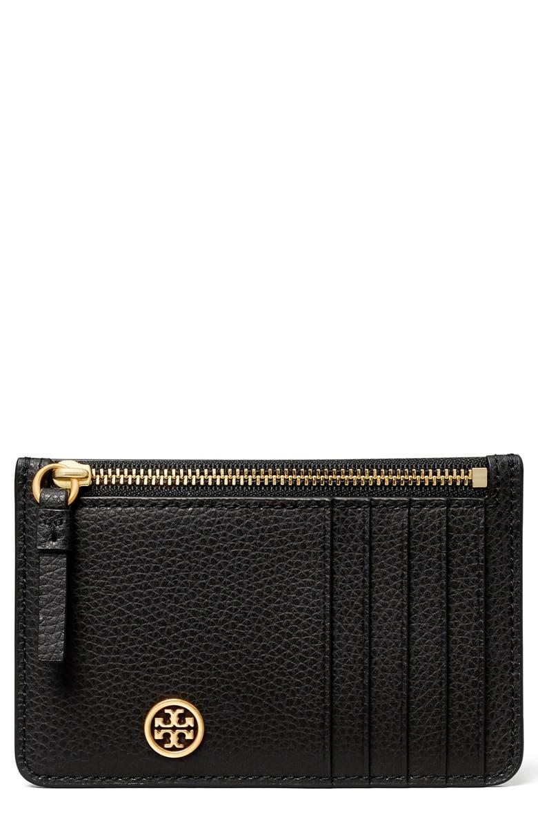 TORY BURCH Walker Leather Top Zip Card Case, Main, color, BLACK