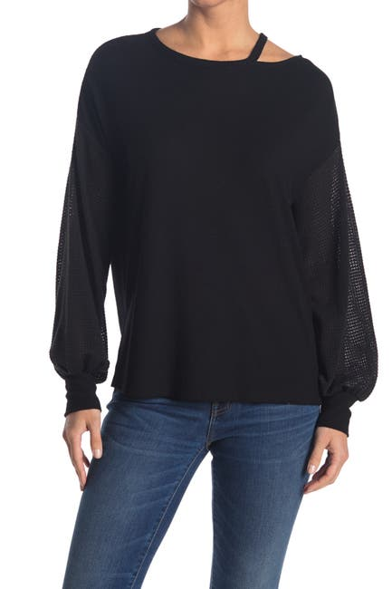Image of Chenault Knit Cutout Contrast Sleeve Top