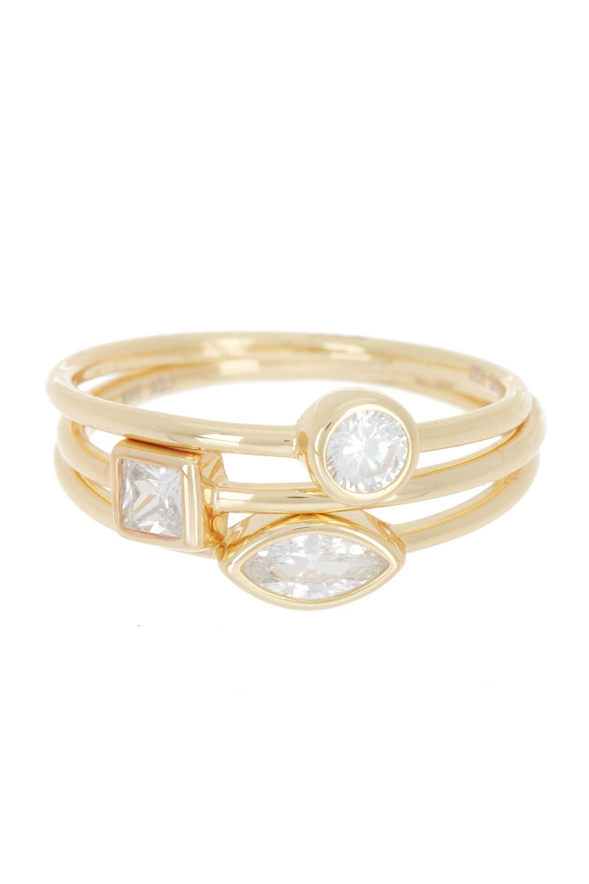 Image of Silver Mama 14K Gold Plated Sterling Silver Baguette, Ellipse, & Circle Rings