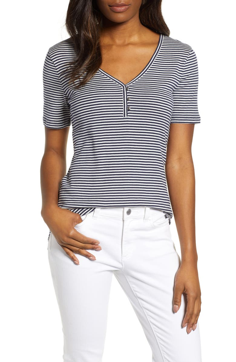 CASLON<SUP>®</SUP> Henley Tee, Main, color, NAVY- IVORY EVEN STRIPE