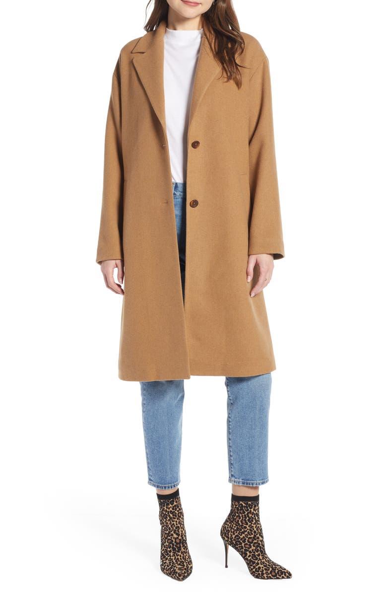 SOMETHING NAVY Longline Camel Coat, Main, color, 210