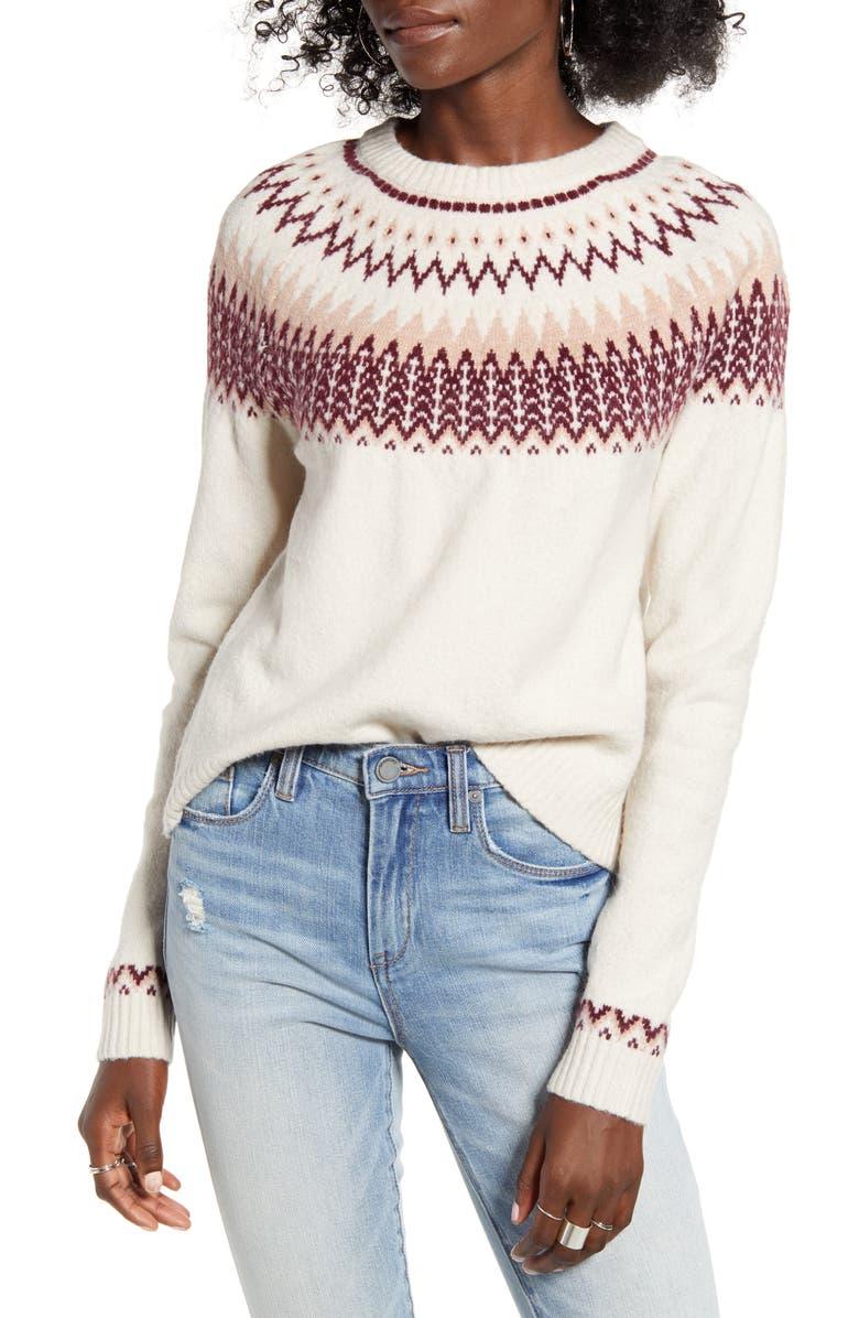 ONLY Leyla Fair Isle Sweater, Main, color, PUMICE STONE