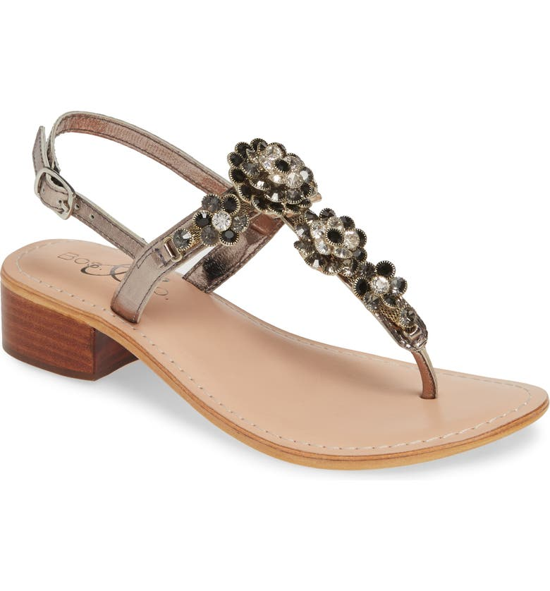 BOS. & CO. Wyn Embellished Sandal, Main, color, ANTHRACITE/ PEWTER LEATHER