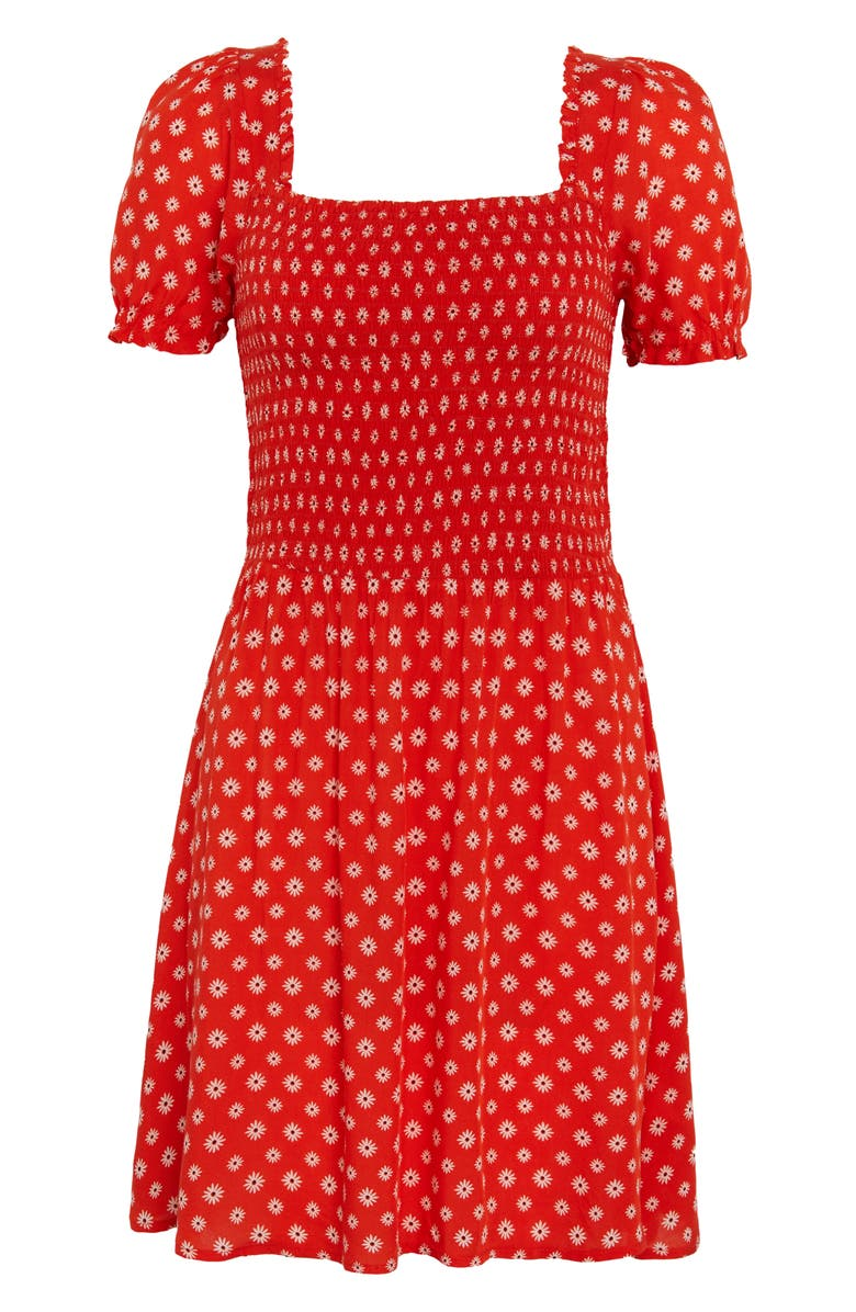 BP. Smocked Floral Print Minidress, Main, color, RED DOUBLE DAISY