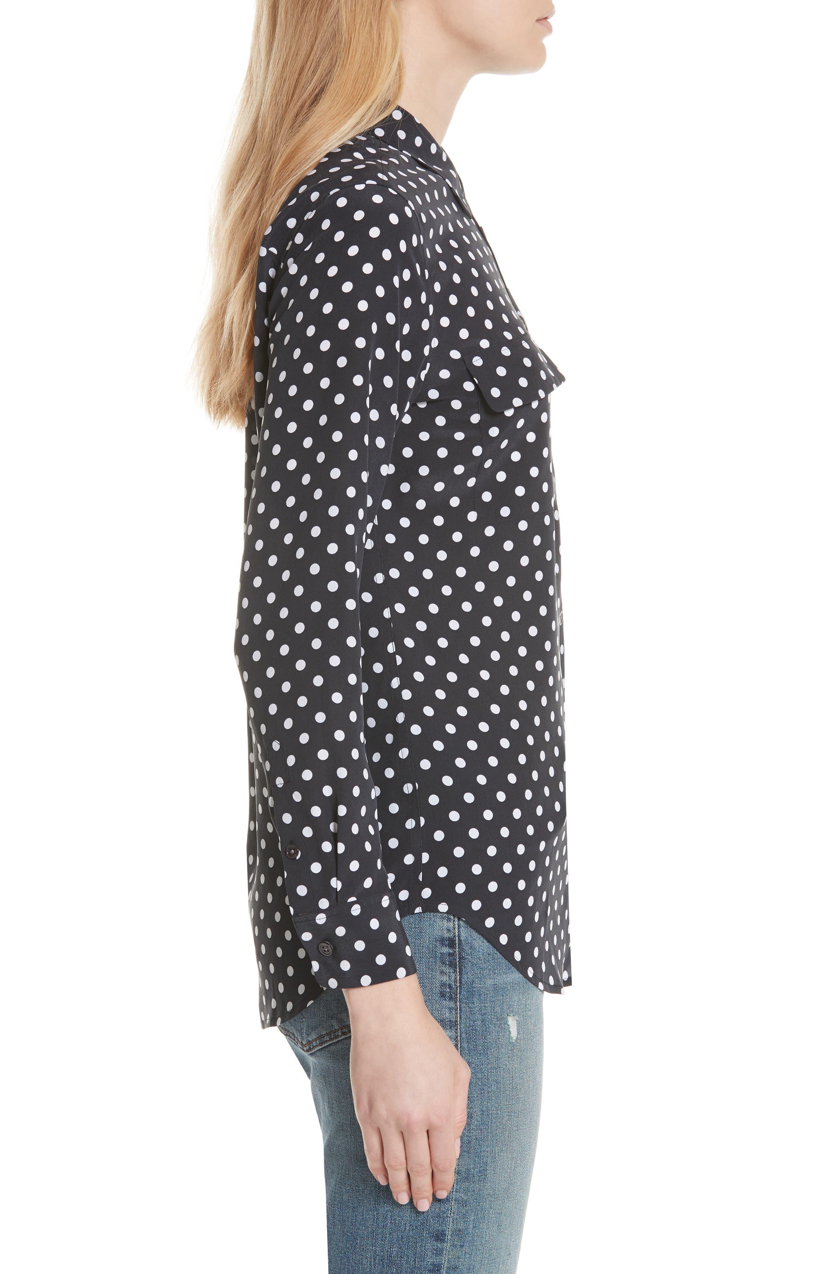 ,                             Slim Signature Polka Dot Silk Shirt,                             Alternate thumbnail 3, color,                             ECLIPSE/ BRIGHT WHITE
