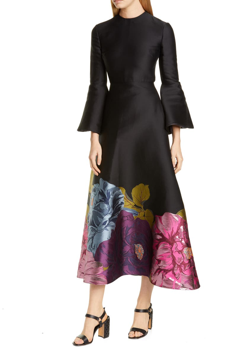VALENTINO Long Sleeve Metallic Floral Brocade Tea Length Dress, Main, color, 001