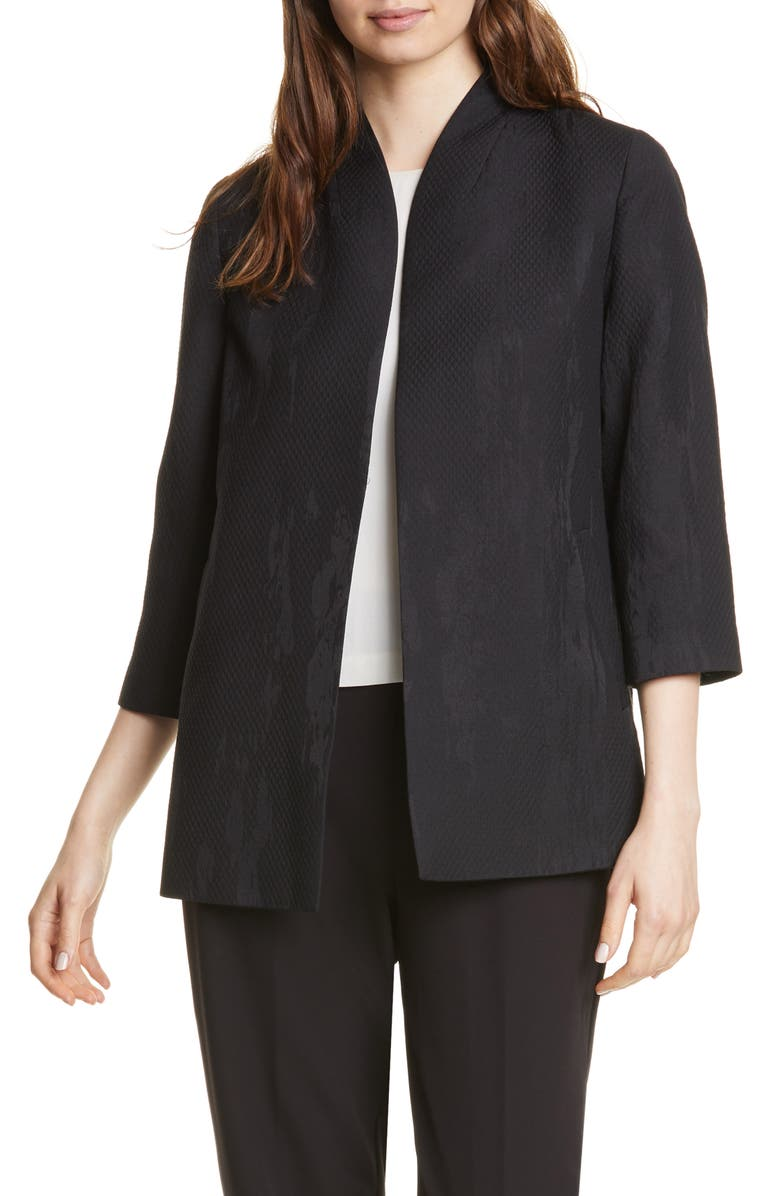 EILEEN FISHER Long Patterned Piqué Jacket, Main, color, BLACK