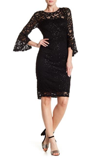 Image of Marina Sequin Lace Bell Sleeve Sheath Dress