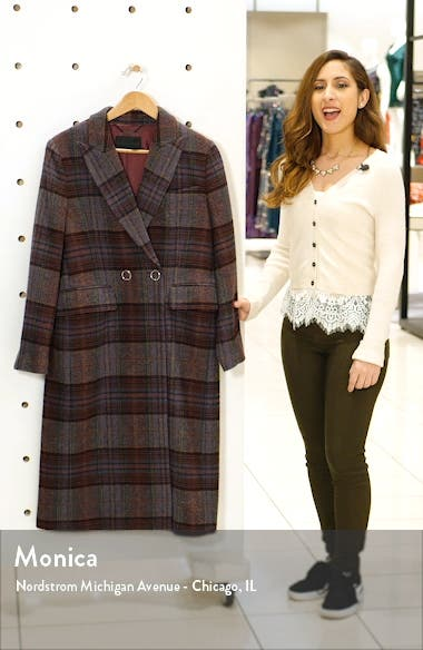 Plaid Brushed Wool Blend Coat, sales video thumbnail
