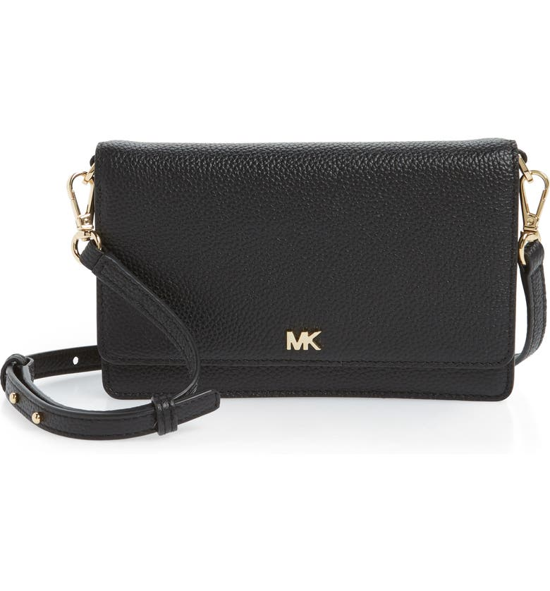 MICHAEL MICHAEL KORS Leather Crossbody Phone Wallet, Main, color, 001