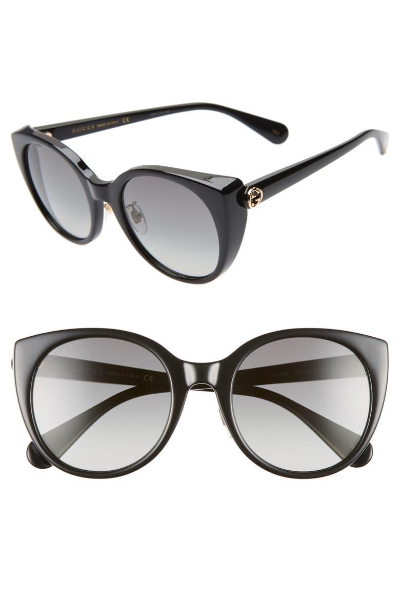 GUCCI 54mm Cat Eye Sunglasses, Main, color, 001