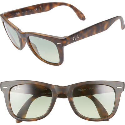 Ray-Ban 50Mm Wayfarer Folding Sunglasses - Green/ Havana Gradient