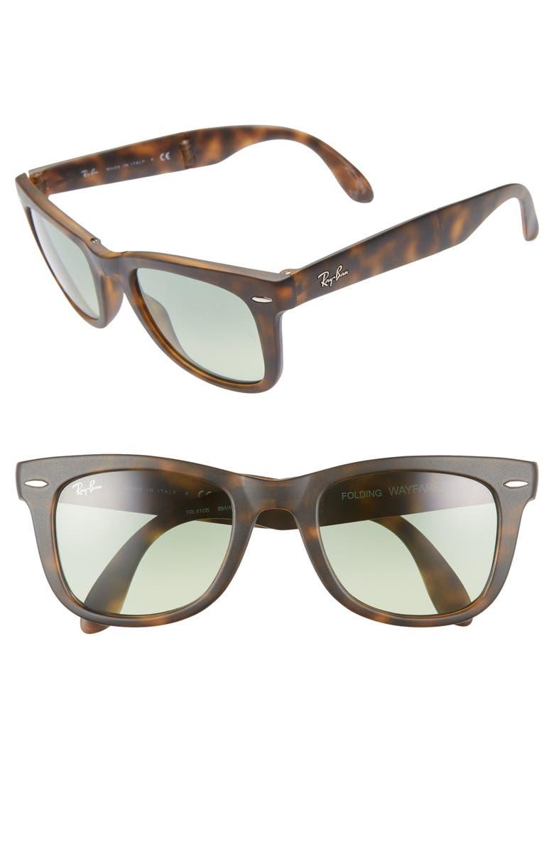 RAY-BAN 50mm Wayfarer Folding Sunglasses, Main, color, GREEN/ HAVANA GRADIENT