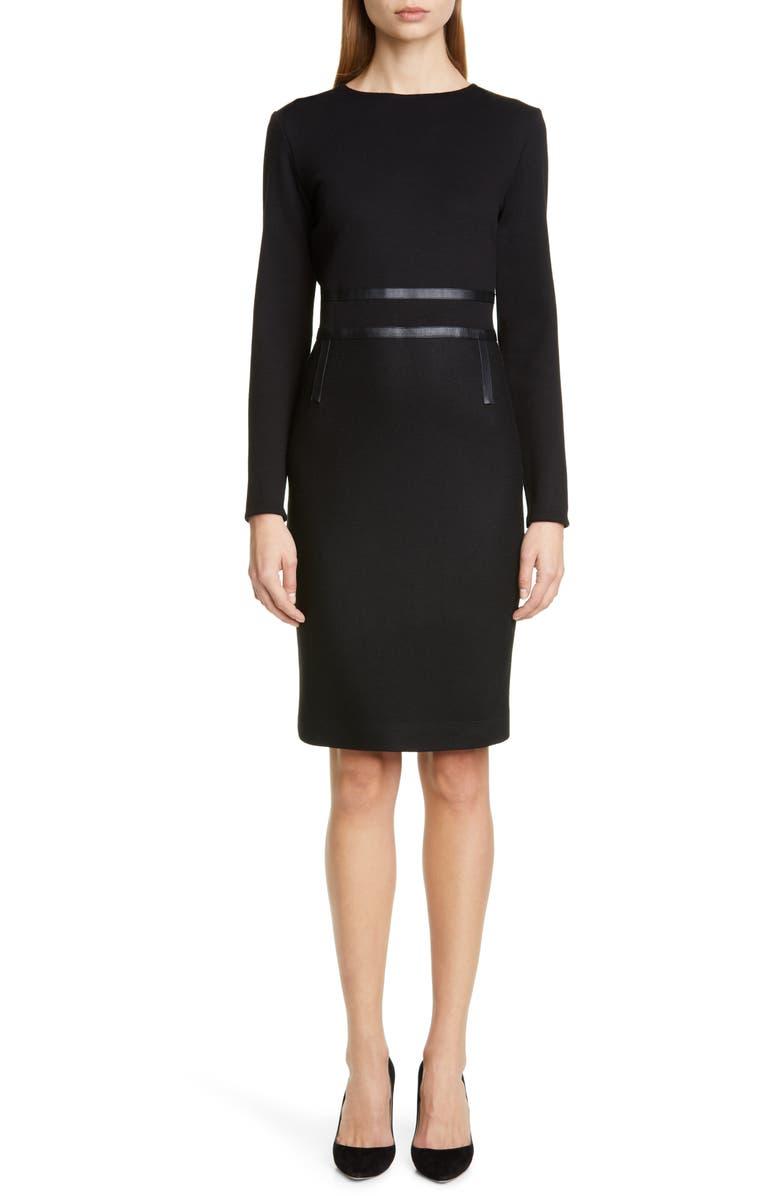 MAX MARA Xeno Leather Detail Long Sleeve Dress, Main, color, BLACK