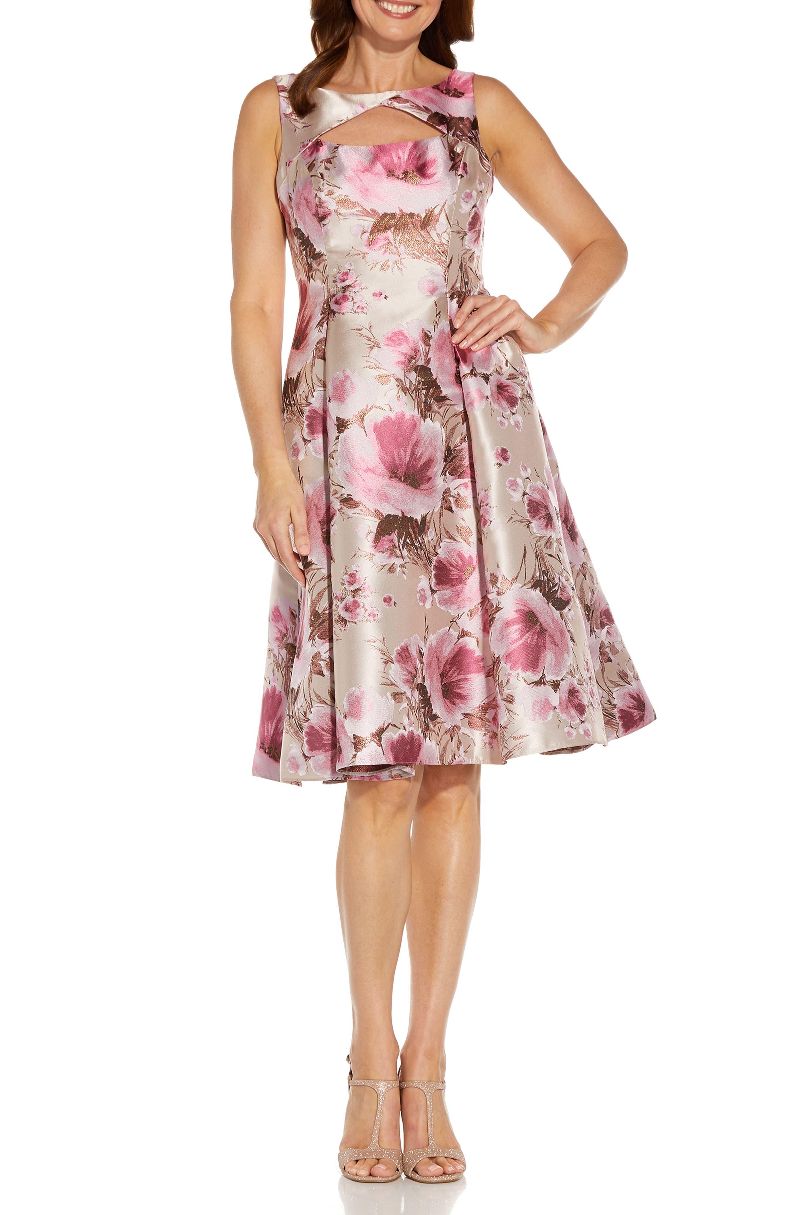 Metallic Floral Jacquard Fit & Flare Cocktail Dress
