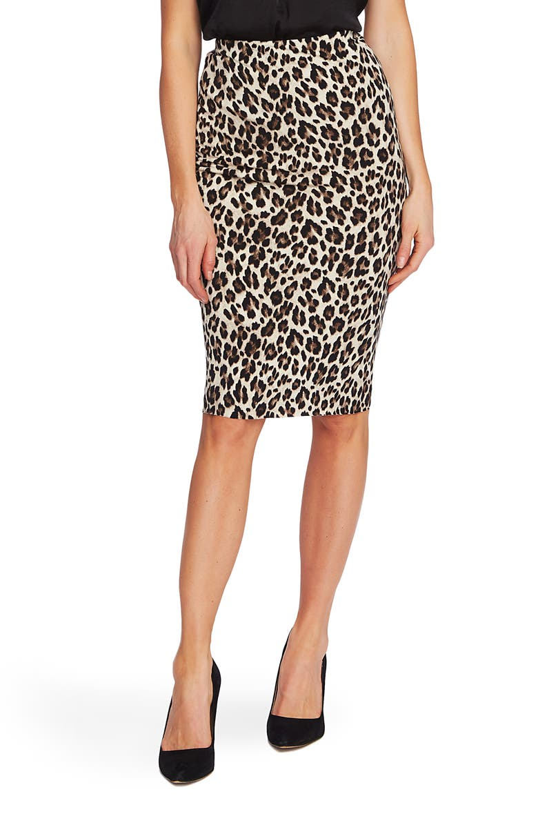 VINCE CAMUTO Leopard Tube Skirt, Main, color, RICH BLACK
