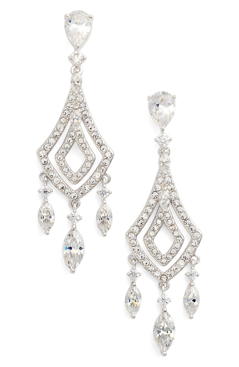 NADRI Cubic Zirconia Chandelier Earrings, Main, color, SILVER