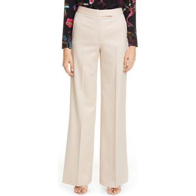 Stella Mccartney Tab Front Wool Wide Leg Pants, 6 IT - Ivory