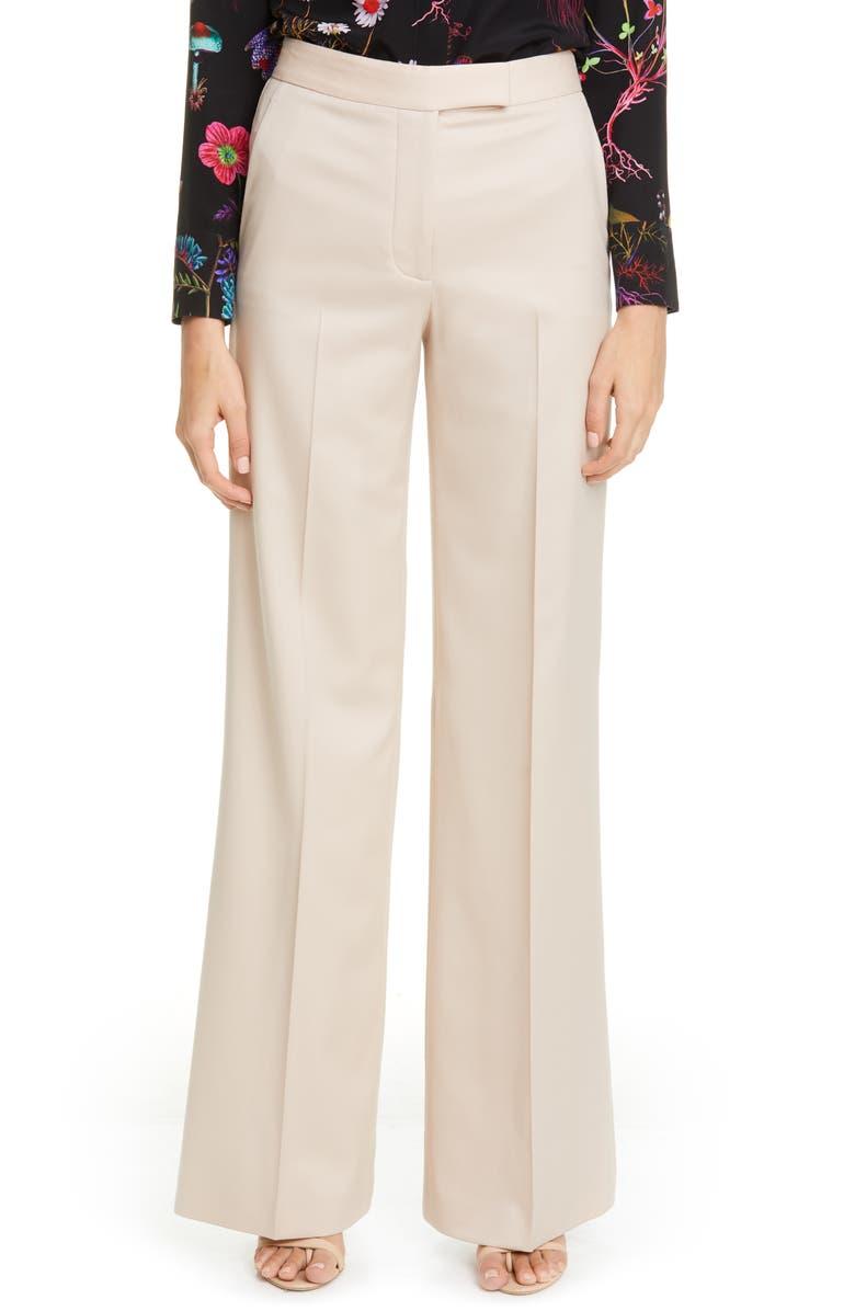 STELLA MCCARTNEY Tab Front Wool Wide Leg Pants, Main, color, 900
